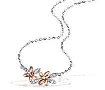 Halskette red Bay Leaves 925 Sterlingsilber teilweise rotvergoldet 10 weiße Zirkonia Kettenanhänger Schmuck