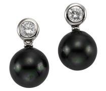Pearls Ohrstecker 925 Sterling Silber rhodiniert Zirkonia Muschelkernperle Schwarz 1.8 cm 360220512-3