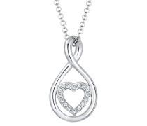 Kette mit Anhänger Infinity Herz 925 Silber Swarovski Kristalle weiß Facettenschliff 45 cm 0101151717_45