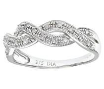 Damen-Ring 9 K Weißgold P1 Diamant 0,1 ct