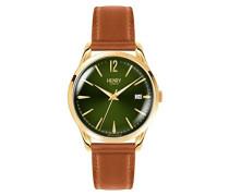 Datum klassisch Quarz Uhr mit Leder Armband HL39-S-0186