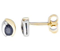 Ohrringe Bicolor Gelbgold / Weißgold 18 Karat / 750 Gold Ohrstecker Blauer Saphir mit Diamant Brillianten
