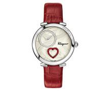Salvatore Ferragamo Cuore Quarz Patentierte Uhr mit silberner Beschaffenheit Vorwahlknopf-Satz mit rotem schlagendem Herzen und rotem ledernem Bügel FE2980016