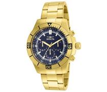 12844 Specialty Uhr Edelstahl Quarz blauen Zifferblat