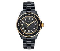 4001.1157 Quarzuhr mit schwarzem Zifferblatt, Analoganzeige und schwarzem Uhrband aus Keramik