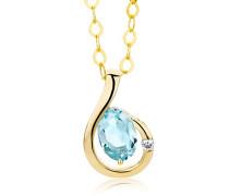 Kette - Halskette Gelbgold 9 Karat/375 Gold Kette Blauer Topas mit Diamant Brilliant 45 cm