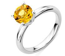 Solitär-Ring, 9 Karat Gelbgold Citrin, Größe 52