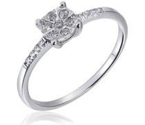 Ring Glamour 585 Weißgold 13 Diamanten 0