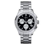 5096.9737 Quarz Schweizer Uhr mit schwarzem Zifferblatt Chronograph-Anzeige und Silber Edelstahl Armband