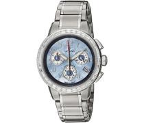 5094.9735 Armbanduhr mit Chronograph-Zifferblatt aus Perlmutt, für Erwachsene, silbernes Edelstahl-Armband