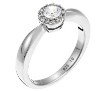 Ring 925 Sterling Silber rhodiniert Glas Zirkonia Lumière Weiß