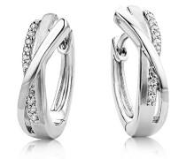 Creolen – Stilvolle Ring-Ohrringe aus 925 Sterling Silber mit 18 farblosen Zirkonia-Steinen – Creolen 4