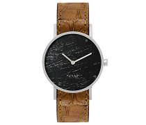Datum klassisch Quarz Uhr mit Leder Armband SS18-silver-38