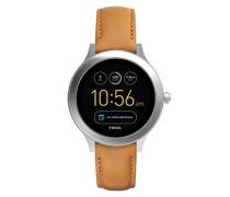 Smartwatch Q Venture 3. Generation - Leder - Braun / Moderne Smartwatch mit Lederarmband / Für Android & iOS