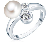 Ring Hochwertige Süßwasser-Zuchtperlen in ca. 8 mm Button weiß 925 Sterling Silber Zirkonia weiß - Perlenring mit echten Perlen weiss 60200012