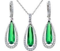 Halskette 925 Sterlingsilber Smaragd Zirkonia 46 cm