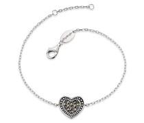 Herz Armband für Vintage Look 925er-Sterlingsilber Markasit Länge 16 cm + 2 cm