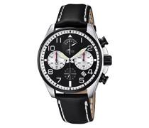 Quarzuhr mit schwarzem Zifferblatt Chronograph-Anzeige und schwarzes Lederband 10127/1
