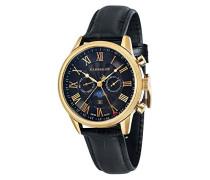 Officer ES-017-05 Armbanduhr mit Quarzuhrwerk, schwarzes Zifferblatt mit Mondphasenanzeige