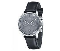 Chronograph Quarz Uhr mit Leder Armband DF-9003-08