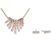 Schmuckset Halskette + Ohrringe Kristall transparent Rundschliff - B601514031