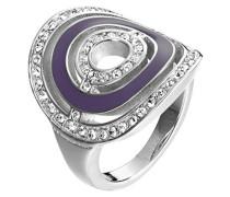 Ring Saturne Edelstahl Zirkonia Weiß Brillantschliff