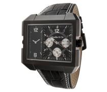 Leon Kingsize Collection Quarz Armbanduhr mit zwei Zeitzonen - Analoge Anzeige - Lederarmband Gehäuse aus Edelstahl Größe XL - OZG1105