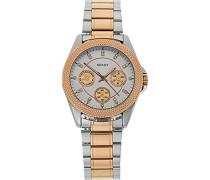 Armbanduhr mit Silber Zifferblatt Analog Display und zwei Ton Edelstahl Rose vergoldet Armband 2005.27