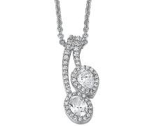 Halskette 925 Sterling Silber rhodiniert Glas Zirkonia L'Esthétisme Duo 42 cm weiß S.PCNL90468A420