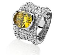 Ring 925 Silber rhodiniert Zirkonia weiß Ovalschliff