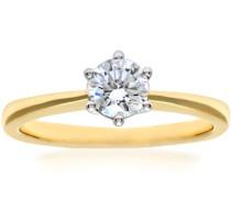 Ring 750 Gelbgold Diamant 18 karat weiß Rundschliff