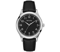 Classic Vintage 96B233 - Designer-Armbanduhr - Armband aus Leder - Schwarz