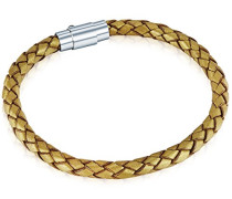 Armband Leather Collection Leder gold geflochten 17 cm 60160097