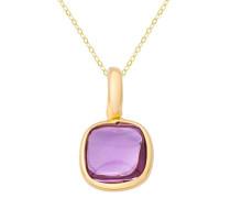 Halskette 18 Karat (750) Gelbgold rhodiniert Amethyst violett