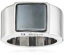 Ring 925 Silber rhodiniert schwarz lackiert Hämatit grau 68 (21.6) - Y2121R/90/E1/68