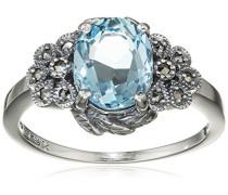 Ring 925 Silber vintage-oxidized Topas blau Markasit 60 (19.1) - L0043R/90/W4/60