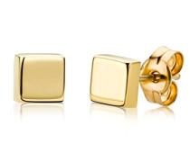 Ohrstecker 9 Karat – Viereckige Ohrringe aus 375 Gelbgold – Hochwertiger Gelbgold-Schmuck Ø 4