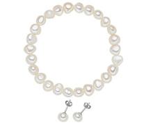 Schmuckset Armband + Ohrringe Ohrstecker 925 Silber rhodiniert Perle Süßwasser-Zuchtperle Weiß