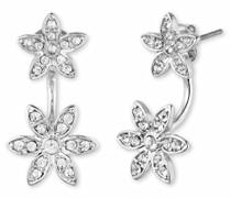 Metall silberfarbenes Ohrstecker mit einer Blume Floater mit Kristallsteinen