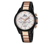Quarz-Uhr mit weißem Zifferblatt Chronograph-Anzeige und Edelstahl zweifarbig vergoldet Armband 18195/1