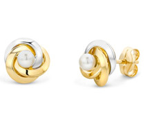 Ohrringe Bicolor Gelbgold / Weißgold 14 Karat / 585 Gold Ohrstecker Süßwasserperlen