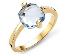 Ring 9 Karat ( 375 ) Gelbgold Topaz 2.5ct. Quarz blau Quadratschliff