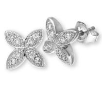 Ohrstecker 9 Karat Blumen Ohrringe 375 Weißgold rhodiniert Diamant (0