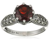 Ring 925 Silber vintage-oxidized Granat rot Markasit 52 (16.6) - L0035R/90/M2/52