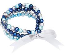 Classic Collection Armband Hochwertige Süßwasser-Zuchtperlen Ca. 5 mm Oval Dunkelblau/Blau/Hellblau Satin Grau 19 cm 60020089