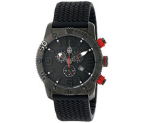Armbanduhr XL Black Chrono Analog Quarz Silikon BM521-622E