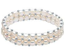 Classic Collection Armband elastisch Hochwertige Süßwasser-Zuchtperlen in ca. 6 mm Button weiß 925 Sterling Silber 19 cm 60201666