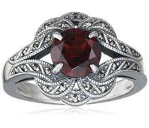 Ring 925 Silber vintage-oxidized Granat rot Markasit 60 (19.1) - L0041R/90/M2/60