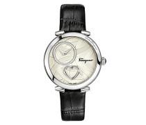 Salvatore Ferragamo Cuore Quarz Patentierte Uhr mit silbernem Textur-Zifferblatt mit Herz und schwarzem Lederband FE2990016