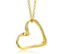 Halsband 9 Karat 375 Gelbgold Anhänger Herz 45cm